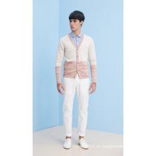 Moda V-cuello de rayas hombre de punto de chaqueta