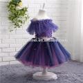 2017 factory supply one word shoulder purple color wedding dress girls wholesale