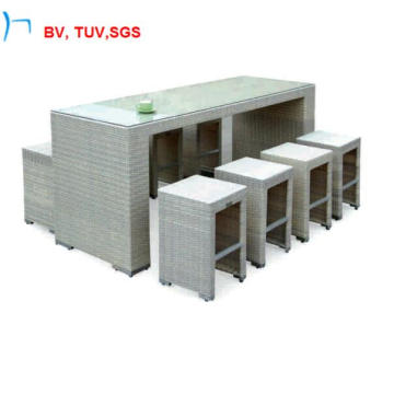 9-Pieces White Steel Bar Table and Chair (2031BT+2031BC)