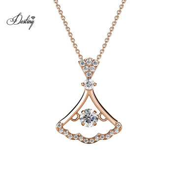 18K Gold Plated Dancing Hayley Dress Shaped Pave Crystal Pendant Girls Beauty Necklace Jewelry