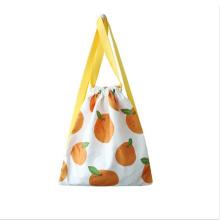 Factory wholesale custom logo full color print cartoon girl cotton canvas drawstring bag backpack