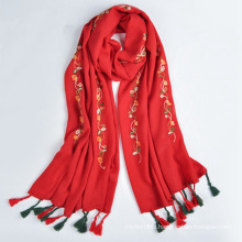 2017 Fashion trend arabic scarf style women long embroidery 30% viscose & 70% polyester scarf and shawl