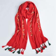 2017 tendência Da Moda estilo lenço árabe mulheres longo bordado 30% viscose e 70% poliéster cachecol e xale