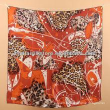 Головной шарф шелк 100% красный леопард печатный шарф