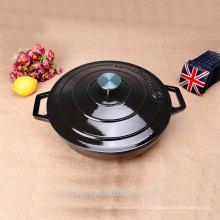 Gloss Black Round Low Casserole Chaudière en fonte Boiler Enamelware