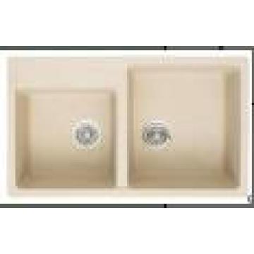 Louças sanitárias duplo tigelas pia da cozinha de granito (hb8206)