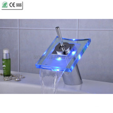 Glass Waterfall Single Level Handle LED Basin Faucet (QH0801F)