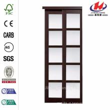72 polegadas x 80 polegadas 2240 Series Espresso Composite 5-Lite vidro temperado Vidro Porta deslizante