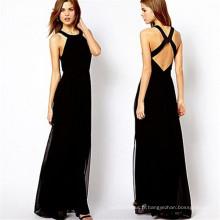 2015 Fashion Cross Backless Halter Chiffon Maxi Party Dress (14317)
