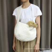 Eco Friendly Cat Bag Soft Touch Dog Bag Carrier White Portable Shoulder Dog Poop Bag