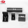 Benutzerdefinierte Logo Black Jewelry Halskette Ring Papier Box