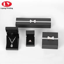 Пользовательский логотип черный ювелирные изделия ожерелье кольцо бумажная коробка