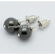 Boucle d'oreille en forme de perles d'hématite de 6MM