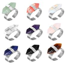 Plated Silver Natural Hexagonal Prism Gemstone Beads engagement rings for women