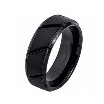 8mm Hitam Brushed Tungsten Carbide Rings Untuknya