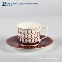 Plain Style Isolierte Espresso Porzellan Fine Bone China Tee Kaffeetasse und Untertasse Set