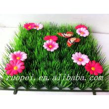 2014 alfombra superior de la hierba artificial de la venta con la mariposa y las flores para la decoración del jardín