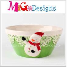 Tazón de fuente de cerámica del diseño adorable del muñeco de nieve de la Navidad