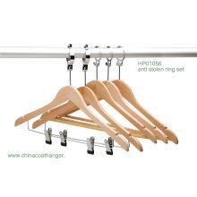 Hotel Clips Hanger Natural Wooden Anti Steel Bar Hanger