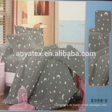Stern und Mond Stil Erwachsene Königin Größe 75gsm 100% Polyester Mikrofaser Bettlaken Sets