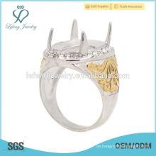 Neues Design Edelstahl Silber & Gold Herren Indonesien Ringe, Mann Ring