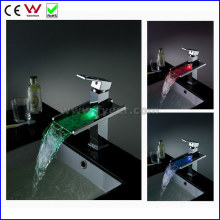 Self-Power 3 Color Waterfall Brass LED Basin Faucet Tap (FD15053F)