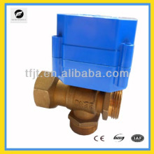 6Nm electric motor 3-way brass valve for IC card water meters,heat energy meters and reuse of rainwater system