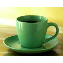 Green Glaz Color Promotional Porcelain Coffee Mug and Saucer