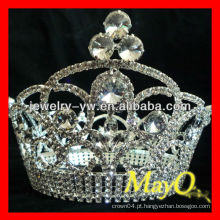 Beleza Rhinestone rainha coroa de representação para a venda, coroa de cristal completo redondo, coroas grande turnê redonda