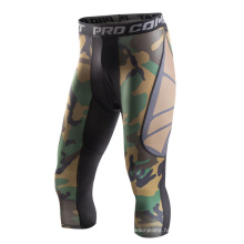 Men Compression Fitness Knee High Shorts Slim Fit/Fashion/Sports/Printed Sublimation Printed Green Tights/Leggings