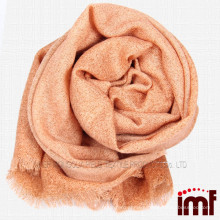 Customized Solid Color Orange Handmade Wool Shawl Scarf Woven Craft