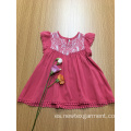 vestido de viscosa casual de ganchillo de color liso para niñas