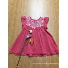 vestido de viscosa casual de ganchillo de color liso para niñas