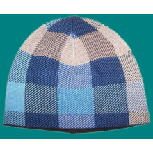Checked Pattern Knitted Beanie Warm Hat with Fleece Inside (1-2543)