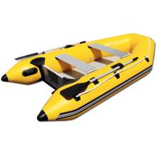Grande barco inflável de pesca com piso de ar