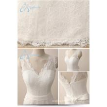 Simple White Satin Lace V-Neck Summer Wedding Dresses