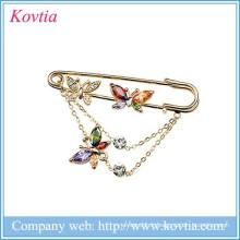2015 vente chaude bijoux fantaisie bijoux en cristal coloré et broche en zircon en stock