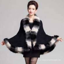 Lady moda espaço tingido pele do falso inverno malha xale (yky4466-1)