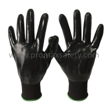 13G Black Polyester Knitted Gloves with Black Nitrile Fully Dipped