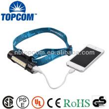 6 LED farol de carregador USB e lanterna com carregador de telemóvel