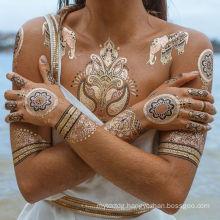 Custom metallic gold temporary hand body sticker tattoo