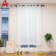 White Pinch Pleated embroidered Voile Sheer window Curtain