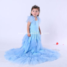 Long Layered Ruffle Blue Jersey Dress for Girls