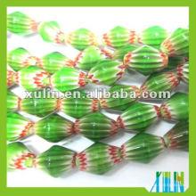 Handmade Glass Verde Millefiori Chevron Bead a granel