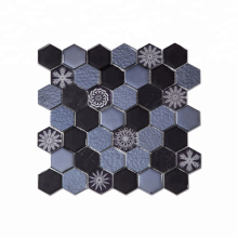 """High Quality 2""""  Hexagon Mosaic Backsplash in Glass Mixed with Flower Pattern Mosaic"""