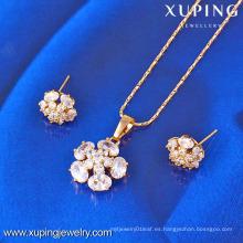 61400-Xuping Fashion Fake Charms conjuntos de joyas de forma de flor