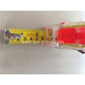 Transparent plastic measuring tape 7.5mx25ft 5m x 19mm
