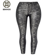 Europe and the United States of tall waist elastic coating silver snake imitation leather pants PU cowboy feet pants