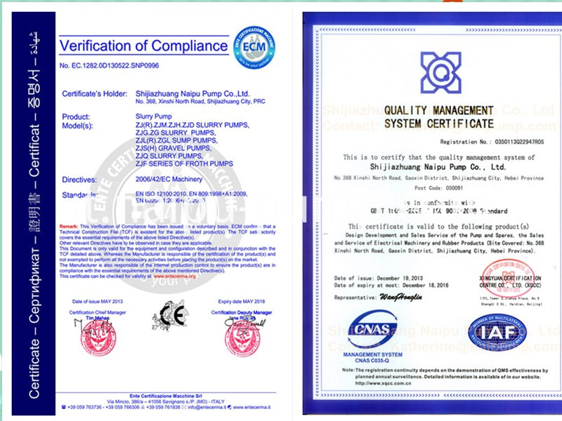 certification of AH rubber liners slurry pump