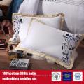 100% algodón 300TC bordado Hotel juego de cama Hotel Ropa de cama